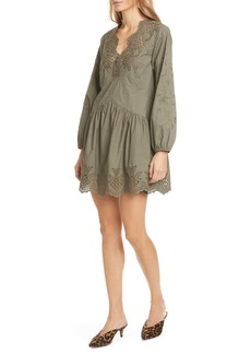 La Vie Rebecca Taylor Embroidery Detail Long Sleeve Cotton Poplin Minidress
