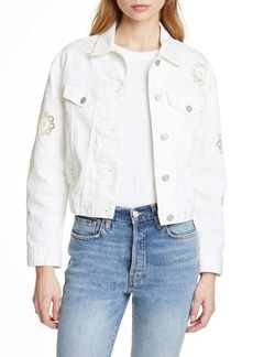 La Vie Rebecca Taylor Eyelet Detail Denim Jacket