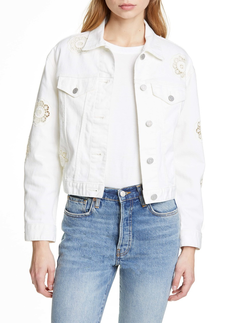 La Vie Rebecca Taylor Eyelet Detail Denim Jacket