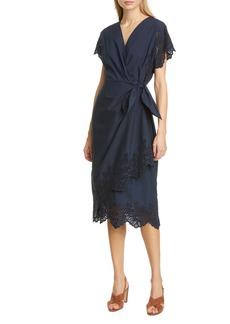La Vie Rebecca Taylor Eyelet Poplin Faux Wrap Dress