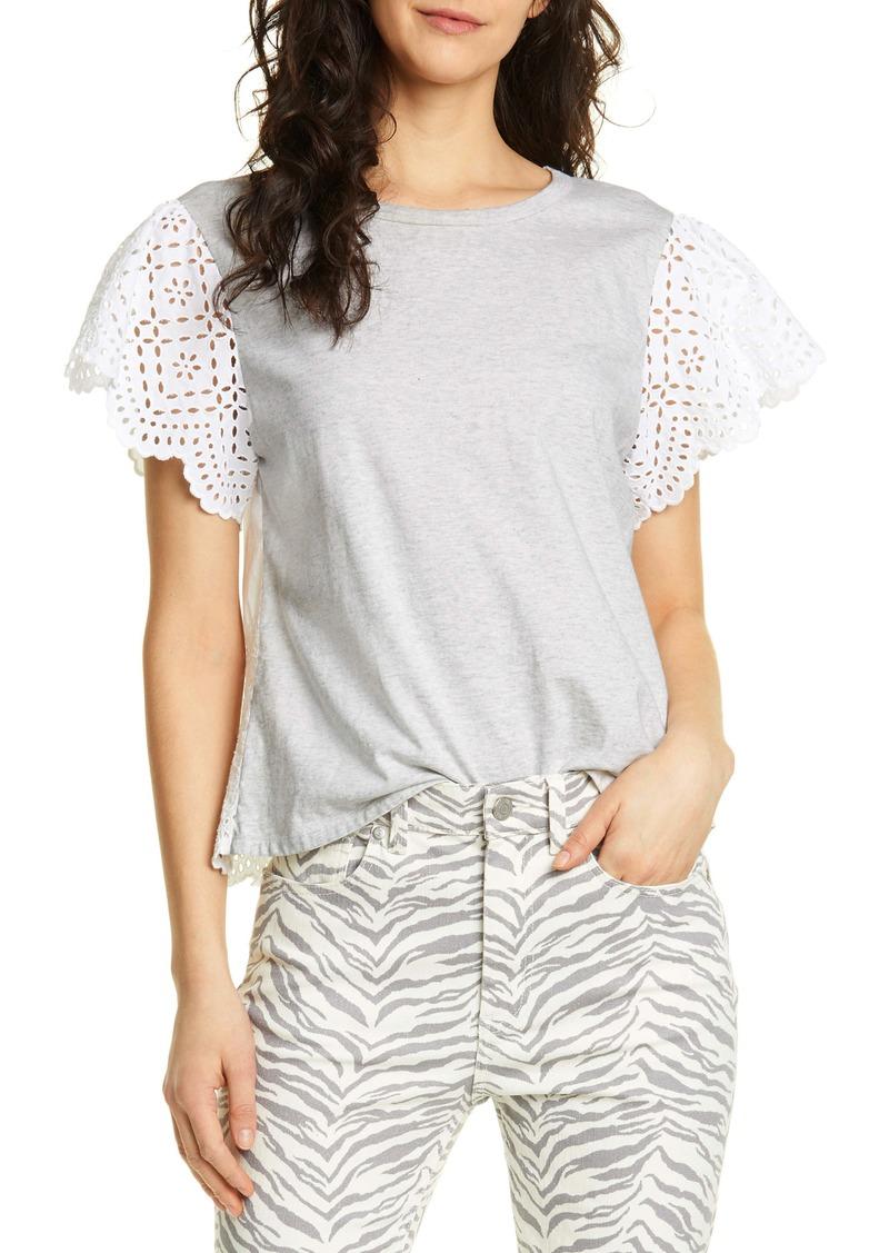 La Vie Rebecca Taylor Eyelet Sleeve Cotton Jersey Top
