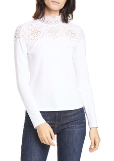 La Vie Rebecca Taylor Eyelet Yoke Cotton Jersey Top