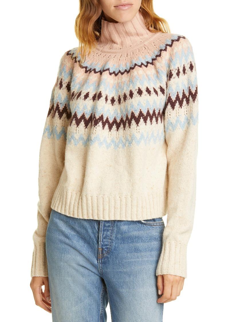 La Vie Rebecca Taylor Fair Isle Turtleneck Sweater