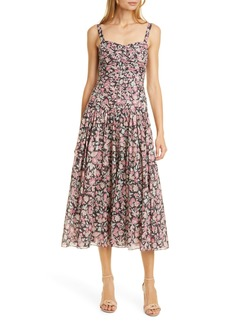 La Vie Rebecca Taylor Falaise Ruched Bodice Sleeveless Cotton Dress