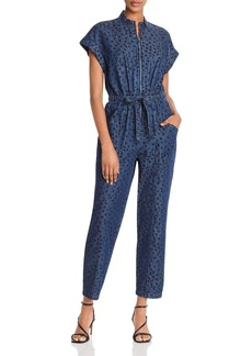 La Vie Rebecca Taylor Faune Animal-Print Denim Jumpsuit