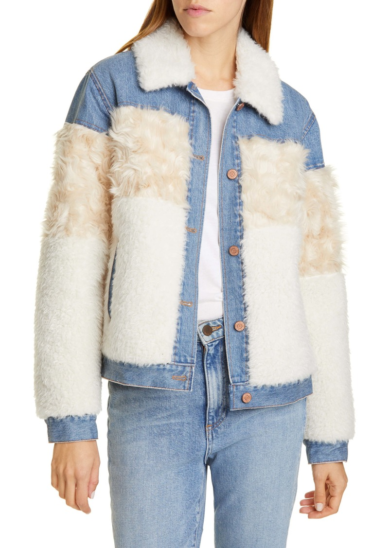 La Vie Rebecca Taylor Faux Fur & Denim Trucker Jacket