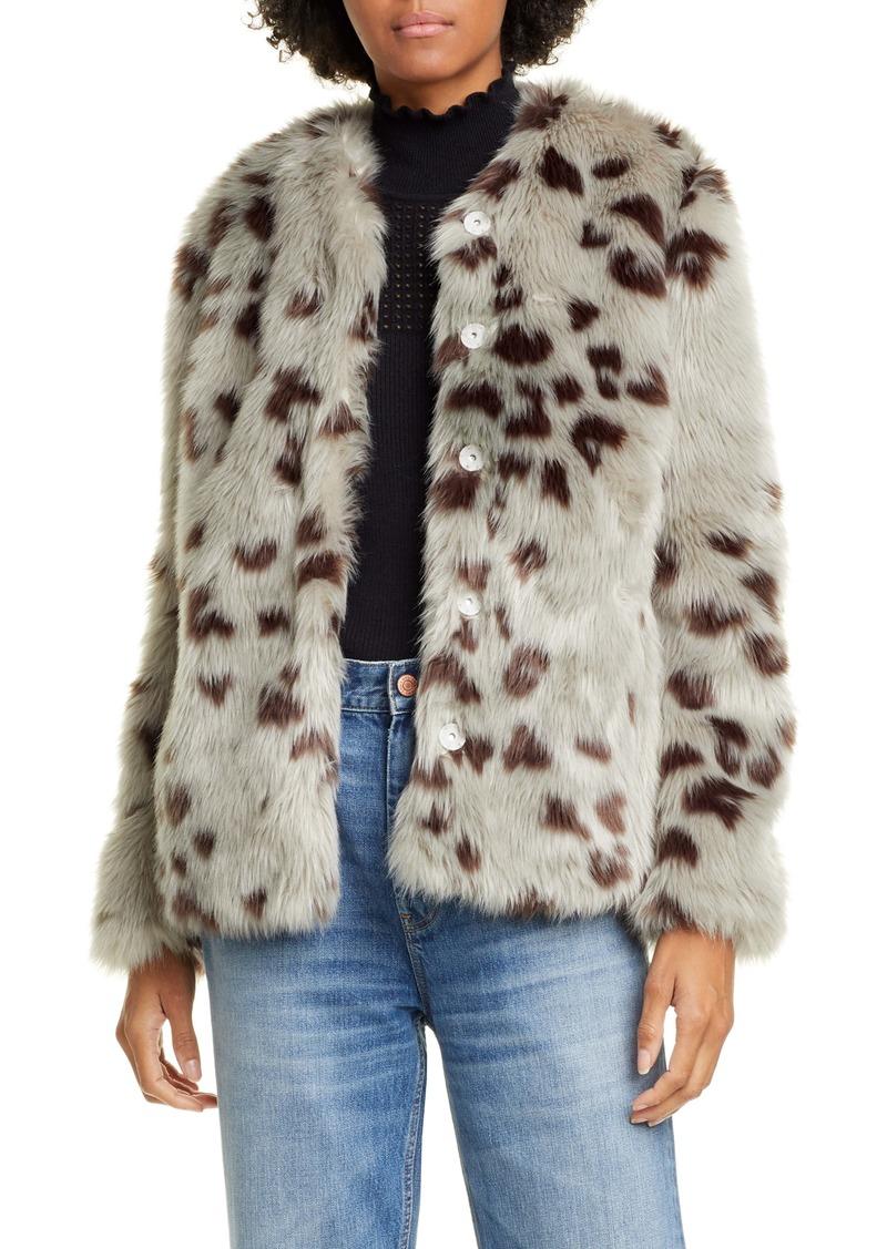 La Vie Rebecca Taylor Faux Snow Fox Fur Jacket