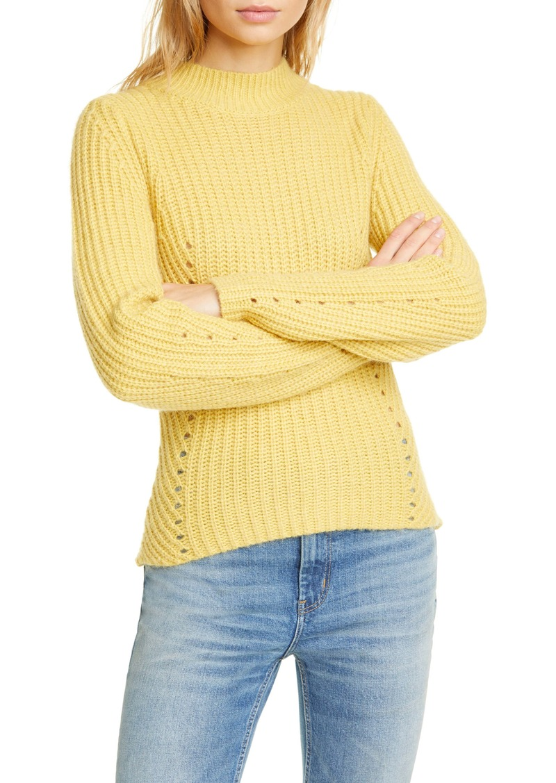 La Vie Rebecca Taylor Fisherman's Ribbed Pointelle Knit Pullover