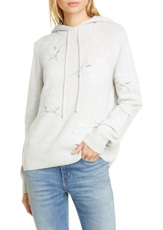 La Vie Rebecca Taylor Floral Intarsia Hooded Sweater