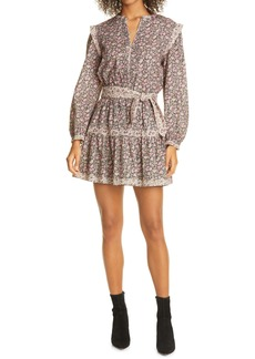 La Vie Rebecca Taylor Floral Mix Belted Long Sleeve Minidress