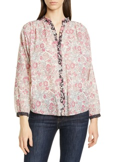 La Vie Rebecca Taylor Floral Pattern Mix Cotton Blouse