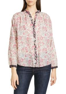 La Vie Rebecca Taylor Floral Pattern Mix Cotton Blouse