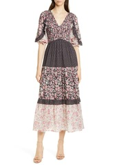 La Vie Rebecca Taylor Floral Pattern Mix Cotton Dress