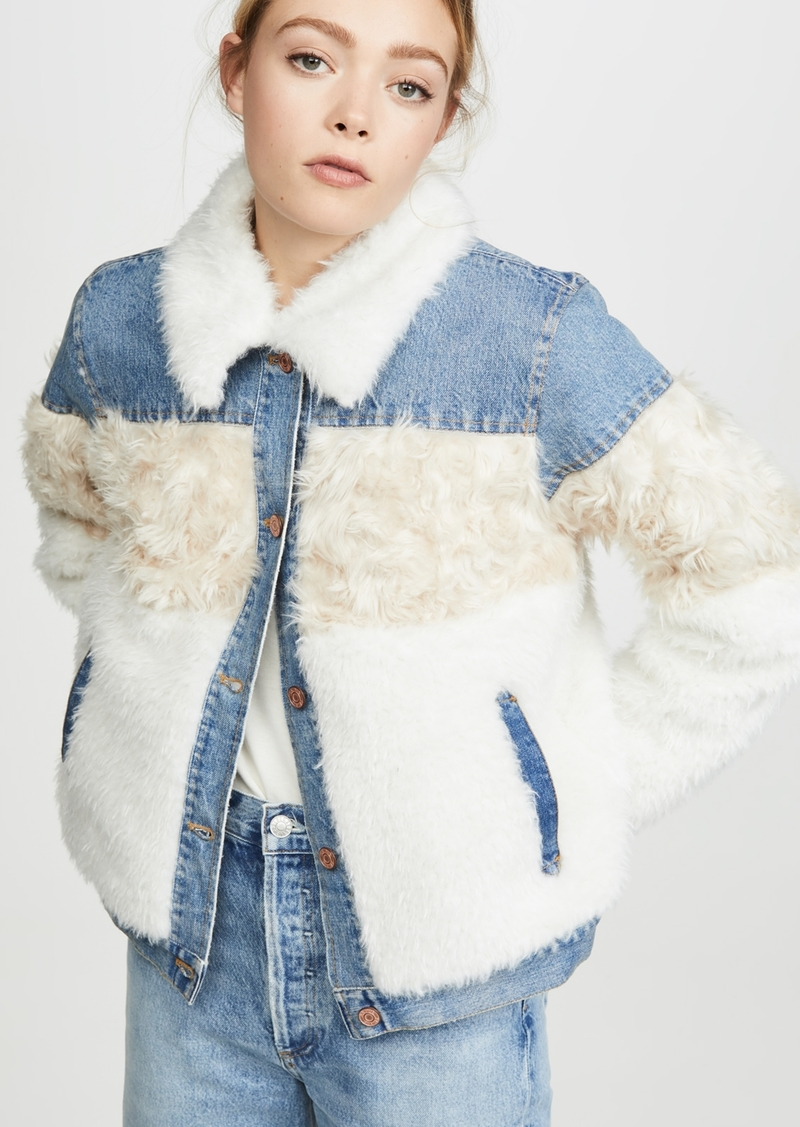 La Vie Rebecca Taylor Fur & Denim Jacket