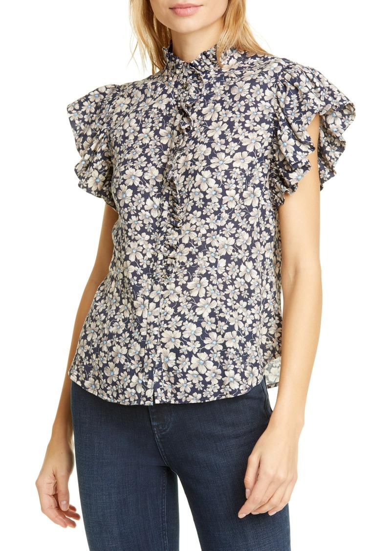 La Vie Rebecca Taylor Giselle Floral Print Ruffle Sleeve Top