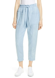 La Vie Rebecca Taylor Indigo Paperbag Cotton & Linen Pants