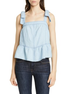 La Vie Rebecca Taylor Indigo Sleeveless Cotton & Linen Top