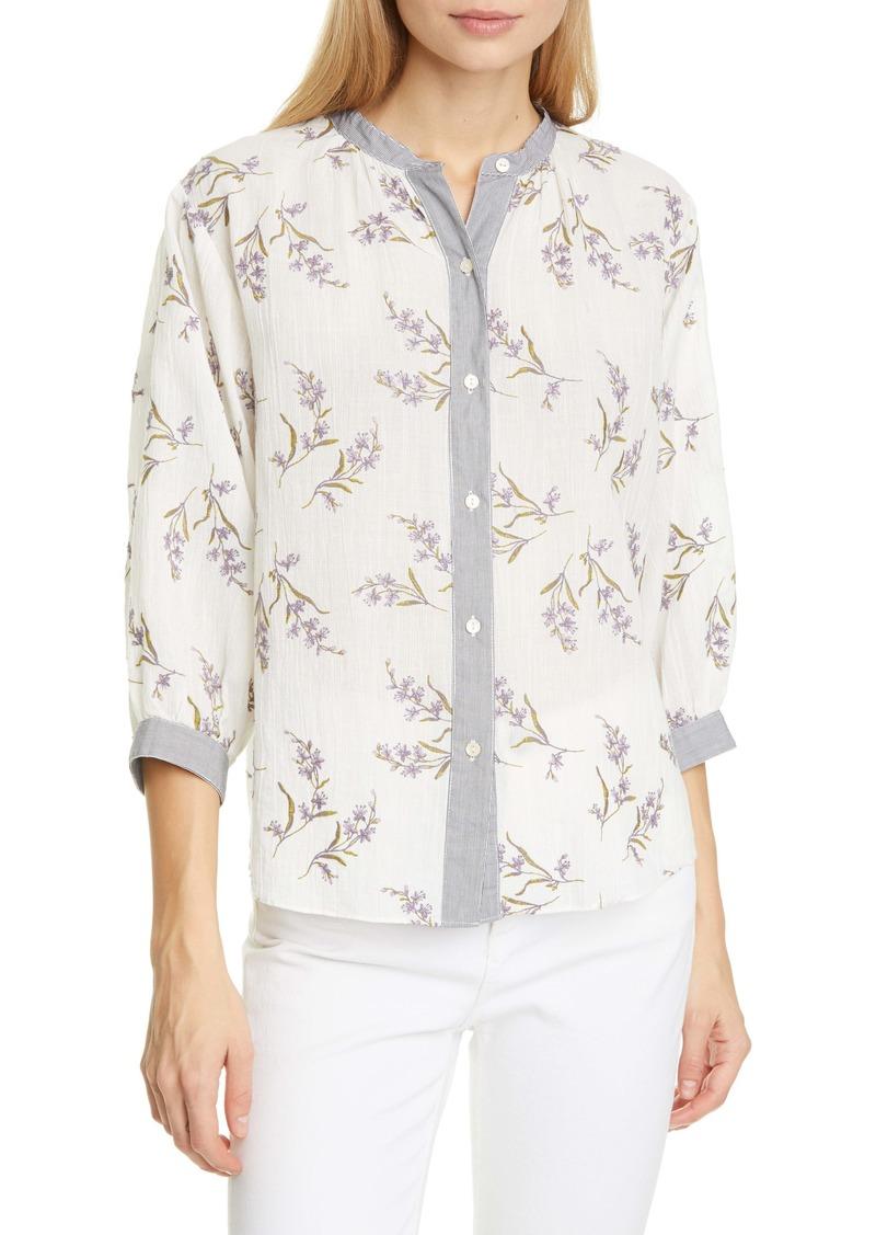 La Vie Rebecca Taylor Jet Fleur Embroidery Cotton Blend Blouse