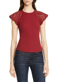 La Vie Rebecca Taylor Lace Cap Sleeve Stretch Cotton Top