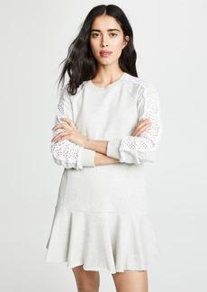 La Vie Rebecca Taylor Long Sleeve Eyelet Fleece Dress