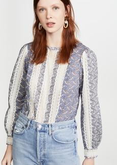La Vie Rebecca Taylor Long Sleeve Woodblock Lace Top