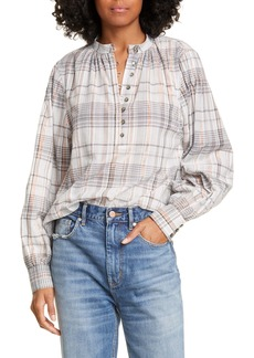 La Vie Rebecca Taylor Metallic Plaid Shirt