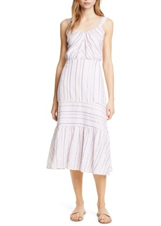 La Vie Rebecca Taylor Metallic Stripe Cotton Sundress