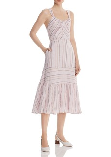 La Vie Rebecca Taylor Metallic Striped Midi Dress