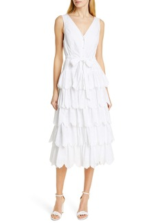 La Vie Rebecca Taylor Mirlle Embroidered Tiered Cotton Midi Dress