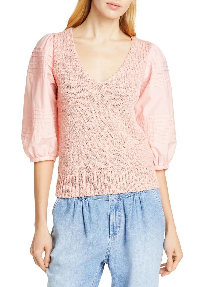 La Vie Rebecca Taylor Mix Media Cotton Sleeve Sweater