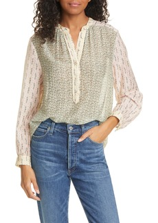 La Vie Rebecca Taylor Pascale Mixed Floral Print Cotton & Silk Blouse