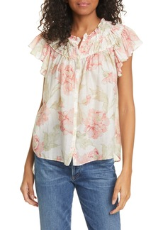 La Vie Rebecca Taylor Peonies Floral Print Cotton & Silk Top
