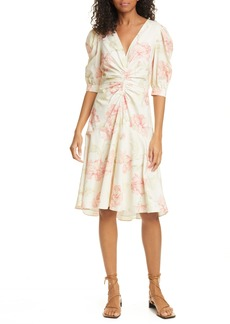 La Vie Rebecca Taylor Peonies Short Sleeve Cotton Dress