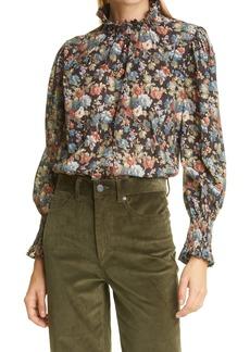 La Vie Rebecca Taylor Petit Zinnia Metallic Detail Long Sleeve Cotton Blouse