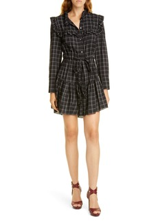 La Vie Rebecca Taylor Plaid Long Sleeve Mini Shirtdress