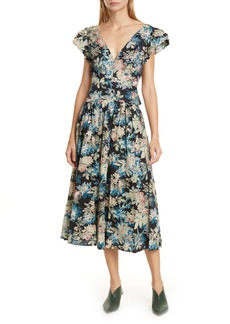 La Vie Rebecca Taylor Plunging Poplin Midi Dress
