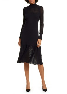 La Vie Rebecca Taylor Pointelle Long Sleeve Cotton & Wool Sweater Dress