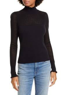 La Vie Rebecca Taylor Pointelle Wool & Cotton Turtleneck Sweater