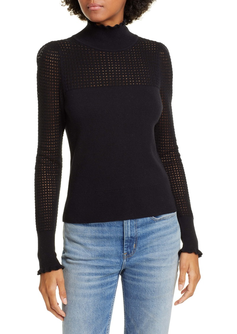 La Vie Rebecca Taylor Pointelle Wool & Cotton Turtleneck Sweater