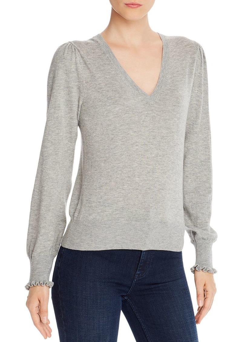 La Vie Rebecca Taylor Ruffle-Cuff V-Neck Sweater - 100% Exclusive