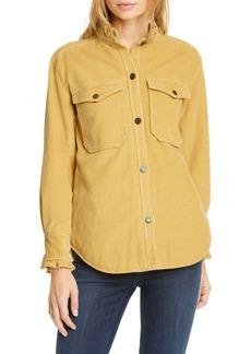 La Vie Rebecca Taylor Ruffle Detail Cotton Corduroy Jacket