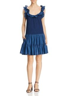 La Vie Rebecca Taylor Ruffled Mixed-Media Dress