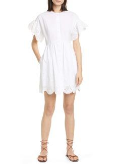 La Vie Rebecca Taylor Short Sleeve Cotton Eyelet Minidress