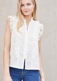 La Vie Rebecca Taylor Sleeveless Palm Embroidery Top