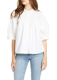 La Vie Rebecca Taylor Smocked Puff Sleeve Blouse