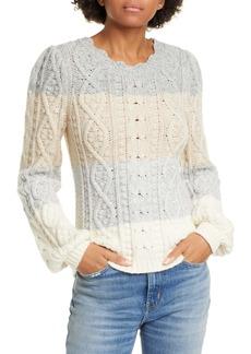 La Vie Rebecca Taylor Stripe Cable Pullover Sweater