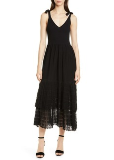 La Vie Rebecca Taylor Tie Shoulder Ribbed & Lace Dress