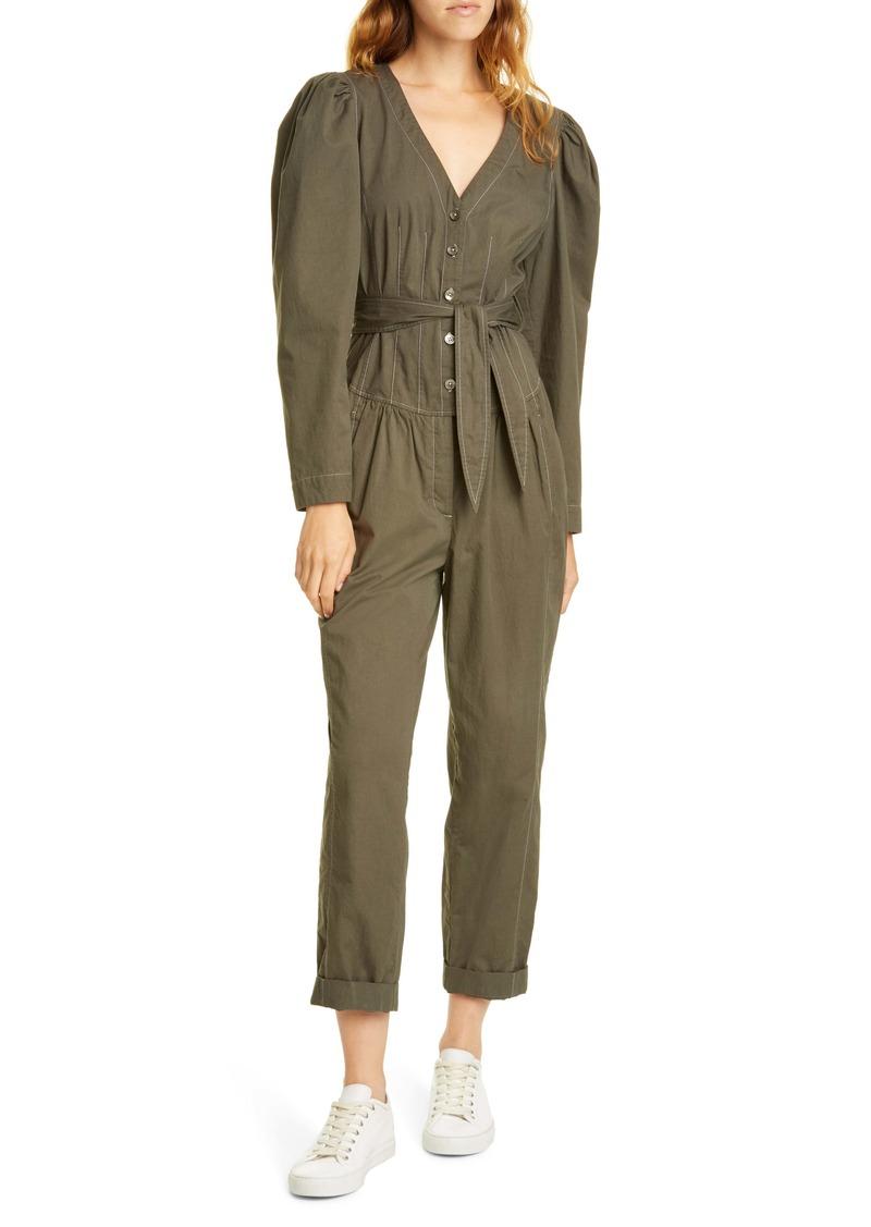 La Vie Rebecca Taylor Topstitch Detail Puff Sleeve Cotton Jumpsuit