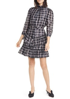 Rebecca Taylor La Vie Rebecca Tayor Metallic Plaid Cotton Blend Dress