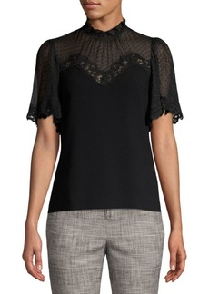 Rebecca Taylor Lace-Accented Crepe Top